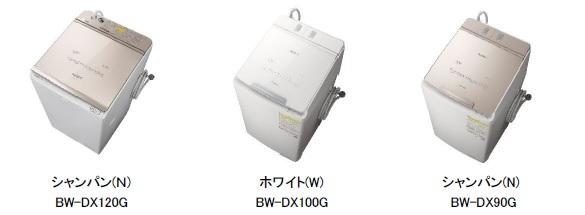 [画像](左)シャンパン(N)BW-DX120G、(中央)ホワイト(W)BW-DX100G、(右)シャンパン(N)BW-DX90G