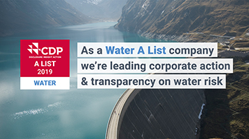 As a Water A list company we're leading corporate action & transparency on water risk